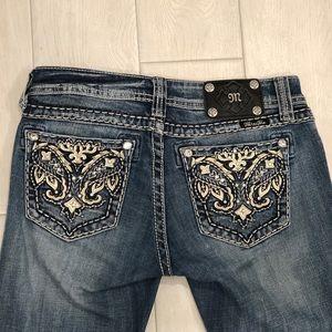 Miss Me Jeans With Leather Rhinestone Stud Sz 27